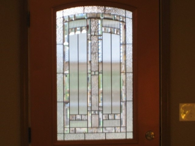 Beautiful leaded glass doors.